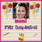 Fotomontaje de Feliz Cumpleaños Mamá con globos y pastel