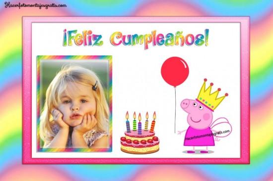 Fotomontaje Feliz Cumpleaños Peppa Pig Cerdita