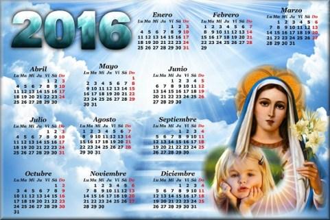 Fotomontaje de Calendarios Cristianos 2016 -Fotomontajes Virgen Maria Calendario 2016 -