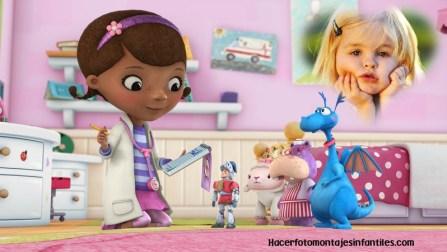 Fotomontaje de la doctora juguetes