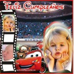 Fotomontaje de Feliz Cumpleaños con Rayo McQueen para tres fotos