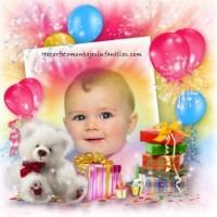 Fotomontaje de Cumpleaños con globos y osito