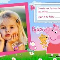 Invitacion de cumpleaños de Peppa Pig con foto