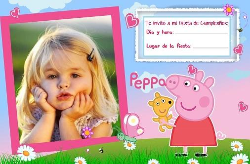 Invitacion de cumpleaños con foto de Peppa Pig