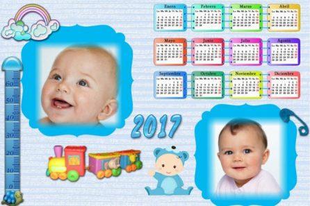 Fotomontajes de Calendarios infantiles 2017 - almanaques con foto bebes 2017 - calendarios fotos bebes niños 2017 - marcos con calendarios infantiles 2017