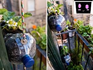 balcon con botellas de plastico reciclado
