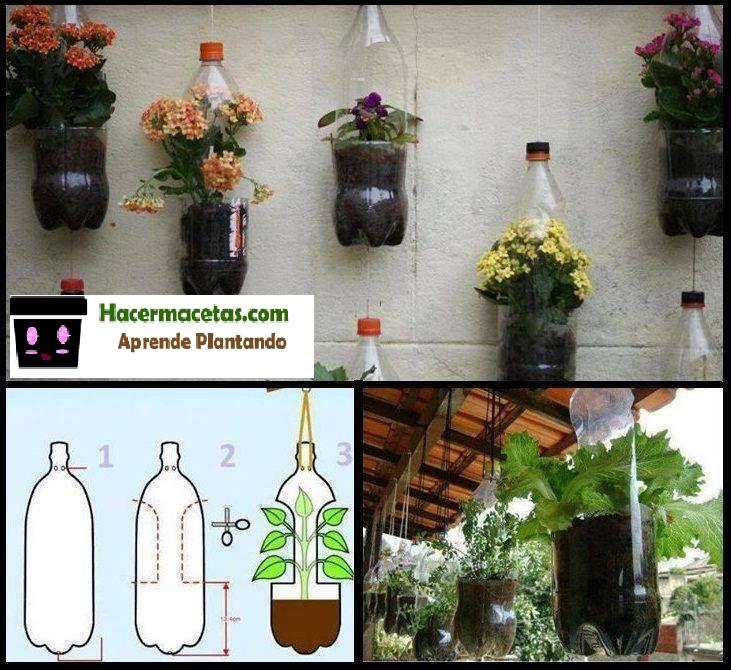 como hacer macetas con botellas plásticas y de vidrio