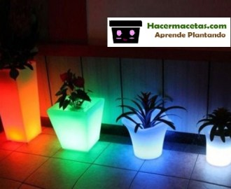 Macetas de plástico con luces led