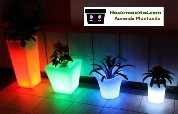 Macetas de plástico con luces led