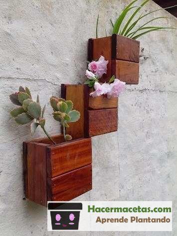 Macetas de madera las ideas mas cheveres para macetas de madera - Macetas en la pared ...