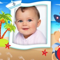 Marco de osito marinero para fotos de bebés