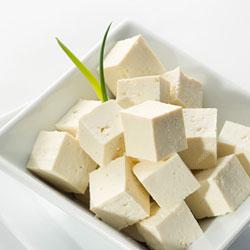 Bowl of tofu cubes