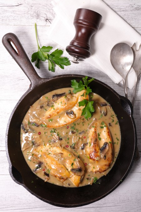 chicken cooked with wine,mustard and mushroom