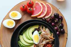 Bowl with greens, chicken, avocado, egg, tomato