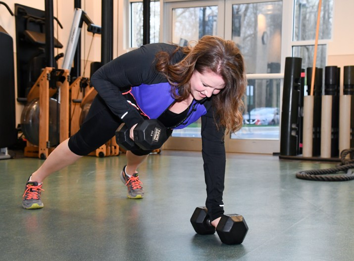 Dumbbell Rows from plank
