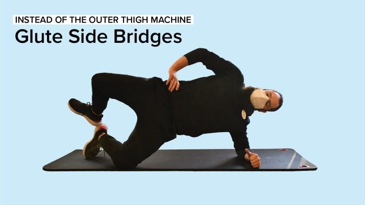 Personal Trainer Dewey Lightcap demonstrating how to perform Glute Side Bridges