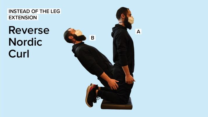 Personal Trainer Dewey Lightcap demonstrating how to perform Reverse Nordic Curls