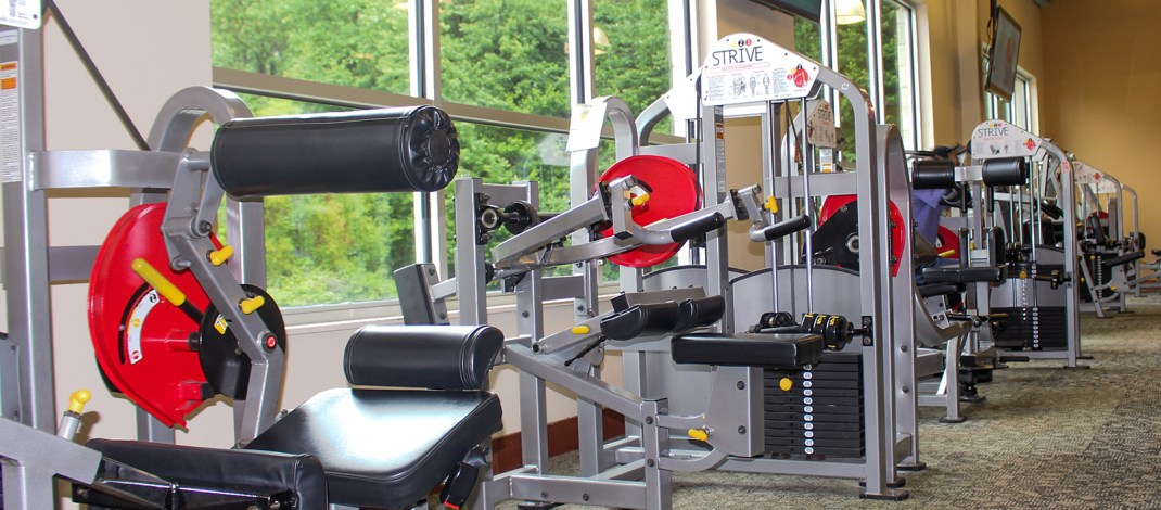 Wall of Strive exercise machines at Hockessin Athletic Club