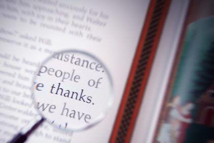 本の中に見つけた感謝の気持ちを表すありがとうの文字