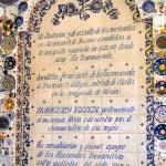 Historia de la fundación de la Hacienda Villejé, impresa en mosaicos de talavera- fuente de los platos.