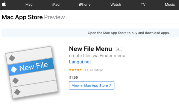New File Menu on the MacAppStore