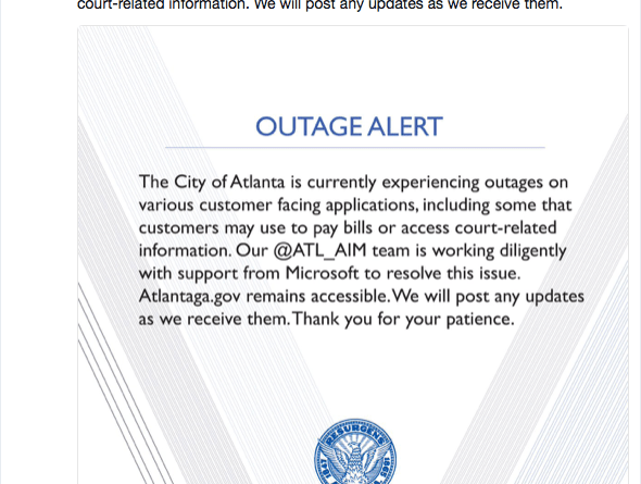 Ransomware Cyber Attack on City of Atlanta