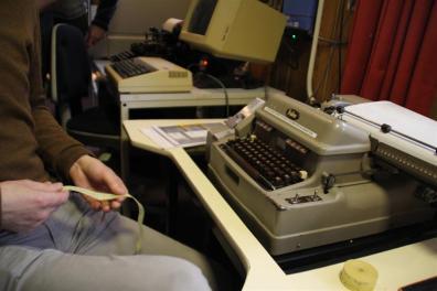 Ribbon punch code to typewriter
