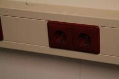 All red outlets have UPS backup.