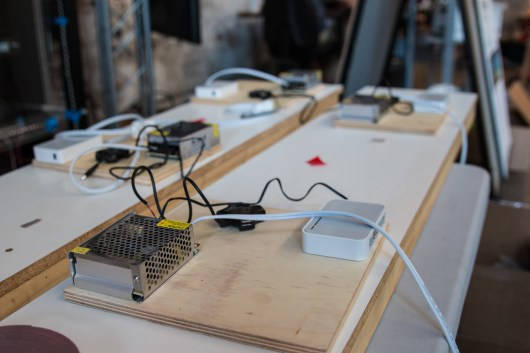 Each Pi gets a router, a power supply and a hub.
