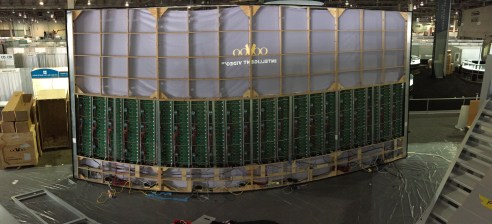 Wide-angle view of the display being assembled.