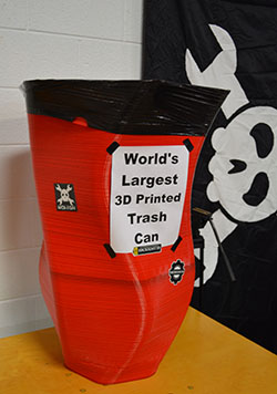 The world's largest 3D printed trash can. People were taking pictures of them standing next to it.