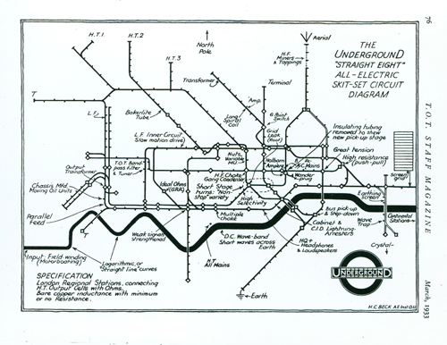 Original Tube Map Drawing by Harry Beck