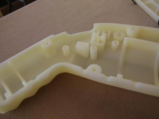 Injection molded, right? Wrong -- Nylon cast in a silicone mold.