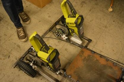 Twin Ryobi electric chainsaw motors