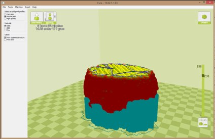 The final 3D model in Cura, ready for printing.