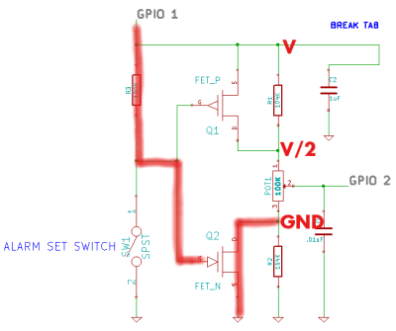 Pressed: pot sees VCC/2 and GND
