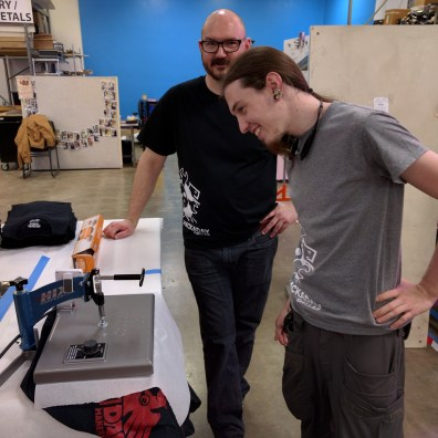 Pearce Dunlap and Brandon Dunson curing a test print