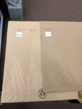 Copper sheet for sale. I've seen zinc, tin, aluminum and more at other stores.