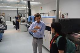 Aleksandar Nikolić explains equipment to Sophi Kravitz and me