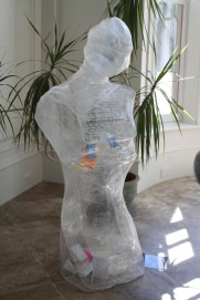 The skin of the manikin is made from plastic wrap.