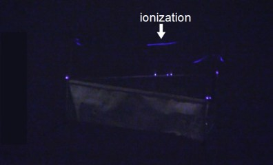 Lifter in the dark with bluish ionization