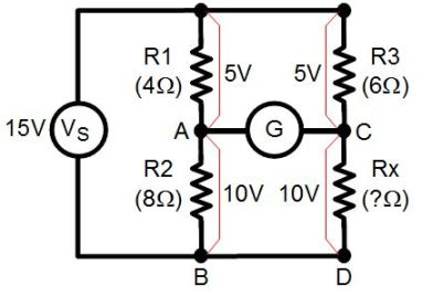 Wheatstone bridge with one unknown