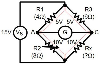 Wheatstone bridge with potentiometer
