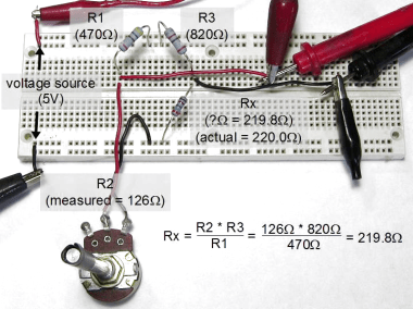 Wheatstone bridge on breadboard