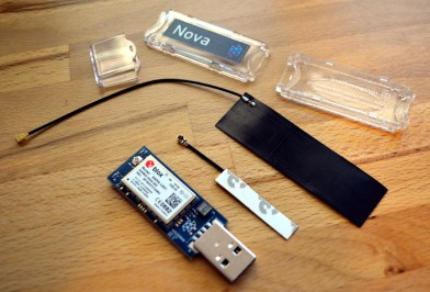 Dongle components (small antenna can be internal, case has a slot for large external antenna)