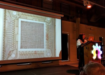 Core memory slide during Pamela Liou's talk