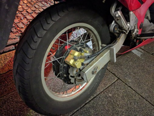 Marc rode his electric conversion to the Uncon. Here's the hub motor!