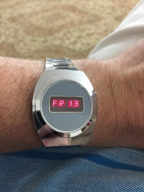Friday the 13th on LED watch has a few alpha-numeric characters.