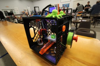"""The """"Udder One"""" is a printer made from a milk crate."""