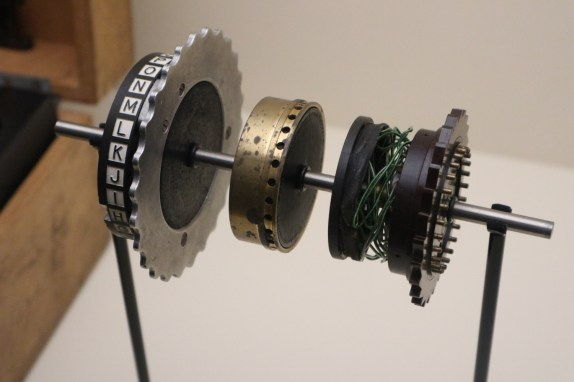 An exploded Enigma rotor